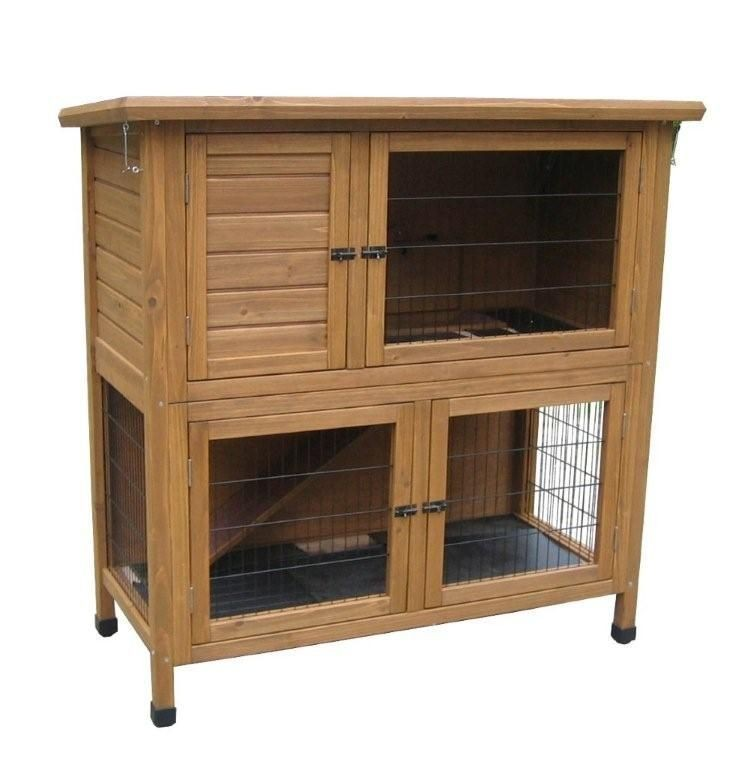 Lazy Bones Double Rabbit Hutch & Run - 45 Inches