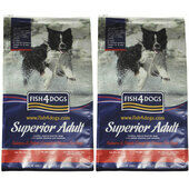 2 x 12kg Fish4Dogs Superior Complete Salmon Regular Bite Adult Dog Food Multibuy