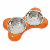 Hing Designs The Bone Large Stainless Steel Dual Dog Bowls - Orange