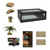 Medium Leopard Gecko Starter Kit - Monkfield Vivarium Black (24 Inch)