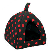Cosipet Polka Dot Igloo Bed Black & Red