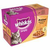 4 x Whiskas Pouch Simply Braised Meat 12x85g
