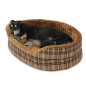 Cosipet Oval Chequers Foam Superbed Brown Tartan Dog Bed