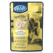 15 x Hilife Spoil Me Dogfood Adult Flaked Chicken With Veg 100g