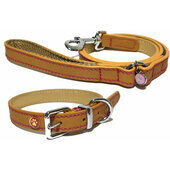Wag N Walk Designer Leather Collar Tan 8-10