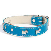 Doggy Things Westie Leather Dog Collar - Blue