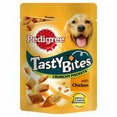 8 x 95g Pedigree Tasty Bites Crunchy Pockets Chicken Dog Treats