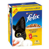 5 x Felix Pouch Adult Chicken in Jelly 6x100g