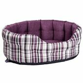 Premium Heavy Duty Antibacterial Oval Drop Front Softee Plaid Dog Bed - Heather