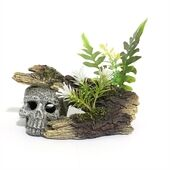 Blue Ribbon Ruins Wrecks & Skulls Skull Log With Plants Small