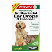 Vetzyme Pet Anti-bacterial Ear Drops & Cleanser 18ml