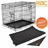 RAC Fold Flat Steel Carrier With Mattress & Bandana Jumbo 122x75x86cm