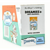8 x 55g Dreamies Cat Treats With Chicken Plus Anti-Hairball - Bulk Pack