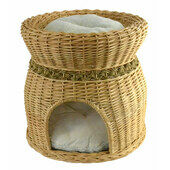 Two Tier Cat Wicker Pet Bed With Cushions - 40 x 44cm