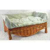Wicker Cat/Dog Basket & Cushion Pet Bed - Various Sizes