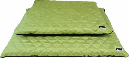 Hem & Boo Waterproof Quilted Flat Dog Bed - Black & Apple