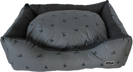 Hem & Boo Slate & Charcoal Country Print Rectangle Dog Bed