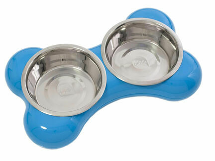 Hing Designs The Bone Large Stainless Steel Dual Dog Bowls - Blue