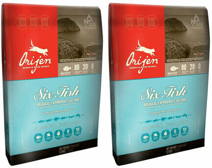 2 x 6.8kg Orijen 6 Fish Dry Cat & Kitten Food Multibuy