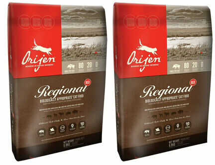 2 x 6.8kg Orijen Regional Red Dry Cat & Kitten Food Multibuy