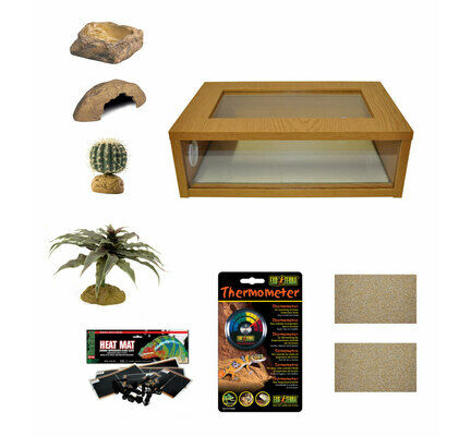 Medium Leopard Gecko Starter Kit - Monkfield Vivarium Oak (24 Inch)