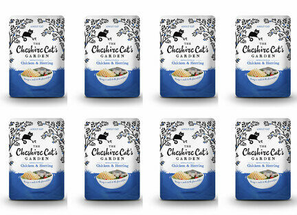 8 x 85g Cheshire Cat's Garden Chicken and Herring Pouches
