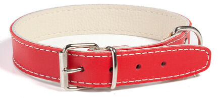 Doggy Things Plain Leather Dog Collar - Red