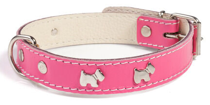 Doggy Things Westie Leather Dog Collar - Hot Pink